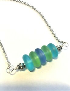 Sea Glass Necklace w Horizontal Stacked Multicolor Sea Glass Pendant Handcrafted