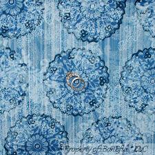BonEful Fabric FQ Cotton Quilt Blue White L Flower Stripe Paisley Calico Cowgirl