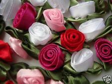 "60 Satin Ribbon 1"" Swirl Rose Bud Flower/Craft/trim/White/Red/Pink/Dress F11-Mix"