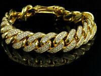 10.5 Ct Mens 14K Yellow Gold Finish Miami Cuban Link Diamond Bracelet 8 Inches