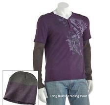 Helix Layered Look Long Sleeve Shirt Top & Beanie Skull Cap Set NWT Large