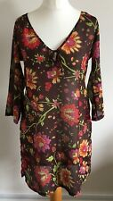 Per Una Size M, Ladies Brown Top/Tunic, Multi Coloured Floral Print, Cover Up