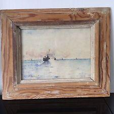Tableau Aquarelle Signée Dunant Marine 1942 Navires Beau Cadre Bois Lazuré