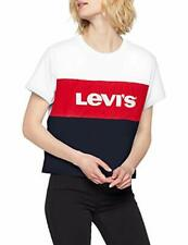 Levis Womens Jeans CB Varsity Cotton Colour Block Logo Print T-Shirt White Red