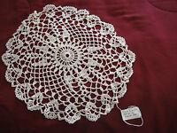 "Hand Crocheted Round Doily White 13"" Sunburst Pattern"