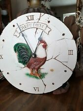 Rustic French Country Rooster Wall Clock Round Colorful Farmhouse Kitchen Decor