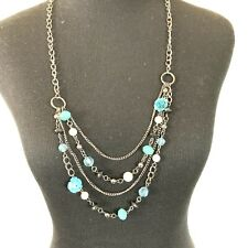 Multi Strand Long Necklace Claires Turquiose Blue Floral Beaded