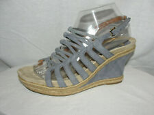 EARTHIES Shoes Women's Size 9B Seaport Blue SALETTA Strappy Wedges Heels Sandals