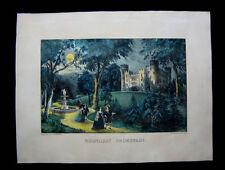 1872 Original Currier & Ives Print of Moolight Promenade Wide Margins Excellent