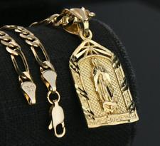 Cadena Figaro Para Hombre Virgen María Colgante Oro 14k Chapado Joyería De Lujo