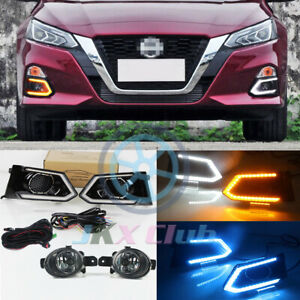For Nissan Altima 2019-2021 LED DRL Daytime Running Lamp + Fog Lights Cable Set