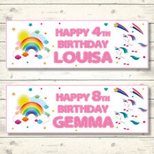 2 PERSONALISED 800 x 297mm RAINBOW & UNICORN BIRTHDAY BANNERS - ANY NAME/ANY AGE