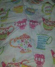 POTTERY BARN KIDS Full Size TEA POTS Fitted Sheet & 2 Pillowcases Teapots