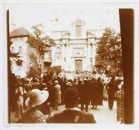 Francia Fête Ville A Identificare c1930 Foto Placca Da Lente Stereo Vintage