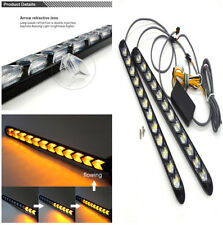 2X 320mm Flexible Flash Dual-Color LED DRL Turn Signal Lights Strip Anti Aging