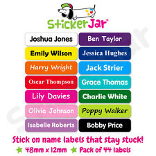 44 Personalised Stick on Name Labels Stickers School Kids Waterproof Nl03