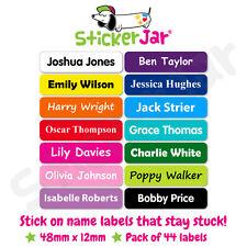 44 Personalised Stick On Name Labels Stickers School Kids Waterproof NL03