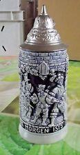 Ancien Bock de Bière Pichet Souvenir scène moyen-âge Troubadour Allemagne 1975