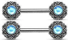 Nipple Ring Bar Crystal Centered Tribal Heart Filigree  Shield Pair nipplerings