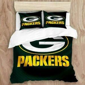 Green Bay Packers All Season 3PCS Duvet Quilt Cover Pillowcase Bedding Set US