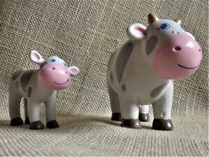 Haba Biegepuppe Kuh mit Kalb Little Friends Kinder spielen Bauernhof