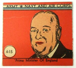 1942 R18 ARMY NAVY AIR CORPS #615 Winston Churchill W.S. Corp WWII trading card