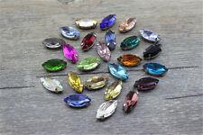 50pcs Sew On 5x10mm navette crystal bead point back glass bead y-pk DIY making