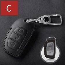 For HYUNDAI 3 Buttons Smart Car Key Case Bag Leather cover type C 1pc black