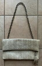 COLE HAAN Large Snakeskin Shoulder Clutch with Chunky Silver Chain Strap -- EUC