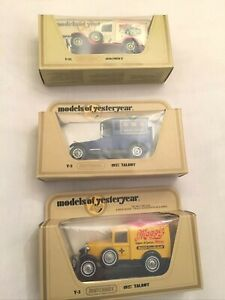 MODELS OF YESTERYEAR MATCHBOX 1930 FORD A, 1927 TALBOT 1922 TALBOT BOXED