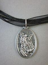 "St Michael Archangel /Guardian Angel Medal 18"" Black Ribbon Voile Necklace Cord"
