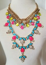 Statement Rhinestone  Necklace Long Multicolor Neon Yellow Pink Blue