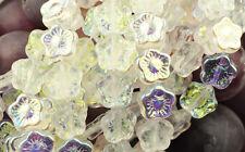 25 Crystal AB Czech Glass Flower Beads 12MM