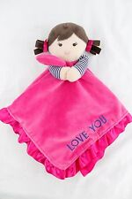 CARTERS Pink LOVE YOU Brunette Girl Doll Lovey Rattle Security Blanket OS
