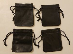 """4 Black Genuine Leather Small 3"""" Drawstring Pouch Bag Jewelry Coin Renaissance"""