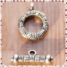 2 CHIUSURE A T LAVORATE CON MOTIVI A RILIEVO color argento X collane bracciali