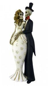 """Gothic Skeleton """"Till Death Us Do Part"""" Bride & Groom Skeleton Figurine"""