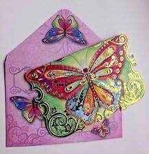 *PUNCH STUDIO Set of 4 Gold Foil Die-Cut Blank Note Cards ~ Fancy Butterfly