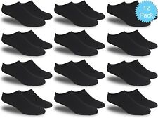 Women's All Black Thin and Lightweight Low Cut Ankle Socks (Value Pack of 12)