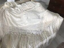 """MANTON de MANILA PIANO SHAWL Cream Silk Embroidered Large 52""""x52""""(plus 28"""")"""