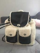 "Coach Women's Lamb Shearling Backpack ""Turnlock"" Black Leather"