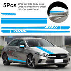 5pcs Car Body Racing Long Stripe Door Hood Mirror Decals Vinyl Stickers
