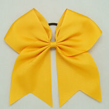 8 Inch Solid Colors Cheer Hair Bow with Elastic Band PonyTail Cheerleading CB001