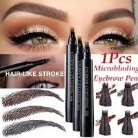 Microblading Tattoo Eyebrow Liquid Pen Waterproof 4 Fork Pencil Eye Brow Definer