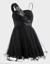 Black PROM DRESS Evening Ballgown Short Tulle Lined COCKTAIL PARTY sz 4-6 XS