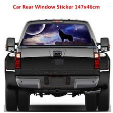 147x46cm Car Rear Window Moon Wolf Graphic Decal Perforated Vinyl Sticker Decor