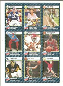 1991 Sports Illustrated for Kids 9 card panel with Michael Jordan (#1-#9)