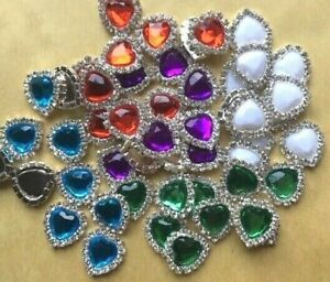 10 Faceted Colour Heart Embellishments Diamante Crystal Craft DIY 15mm x 17mm