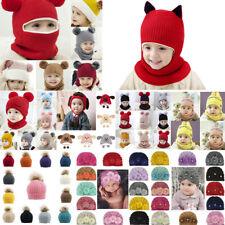 Kid Baby Boy Girl Hooded scarf Caps Hat Winter Warm Knit Flap Cap Scarf LOT