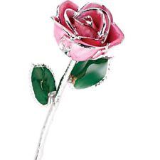 Set of 12 Platinum Trimmed Pink and Purple Roses Real Long Stemmed Roses